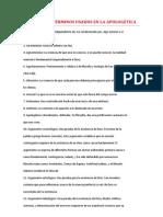 GLOSARIO DE TÉRMINOS USADOS EN LA APOLOGÉTICA