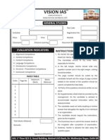 Answers Booklet for General Studies and Optional Subejct Vision Iasvv