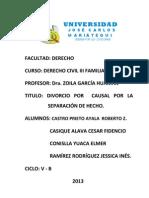 Divorcio Por Causal de Separacion de Hecho.