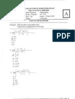 Soal ulangan umum matematika kelas XI 2009 + jawaban
