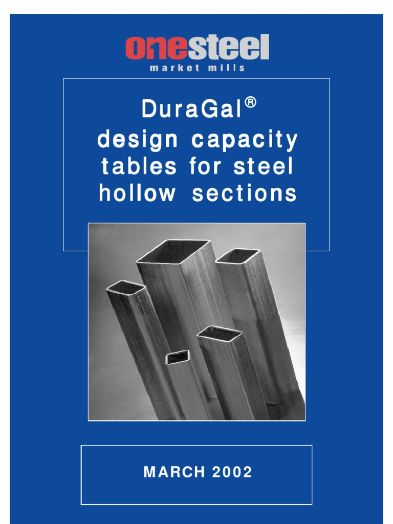 Duragal design capacity tables for steel hollow sections