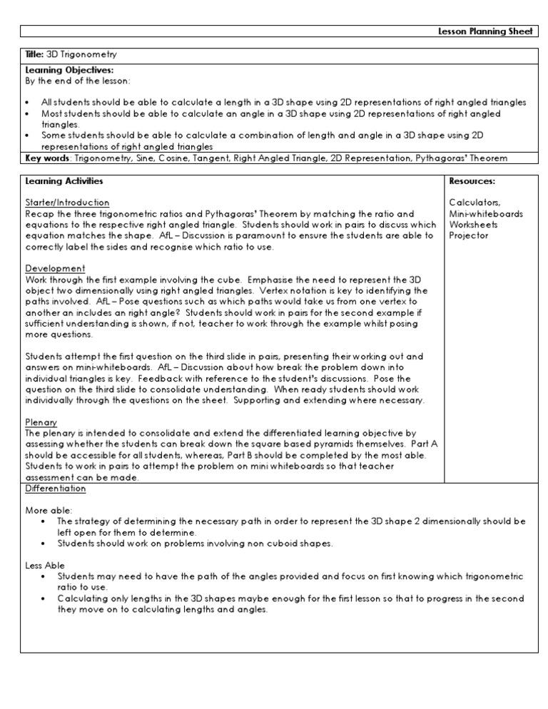 Lesson Plan 3d Trig Trigonometric Functions Trigonometry