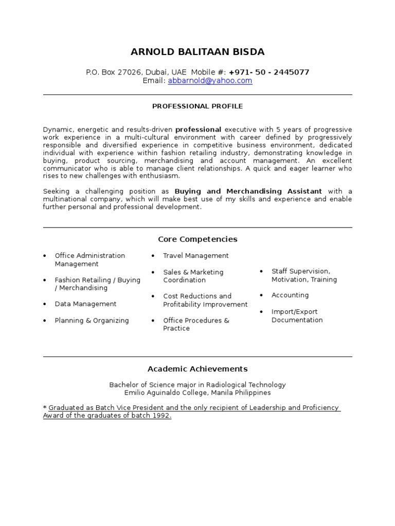 Buying Assistant Resume Sample | Market (Economics) | Business Economics