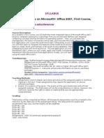 Office 2007 E-Course Syllabus