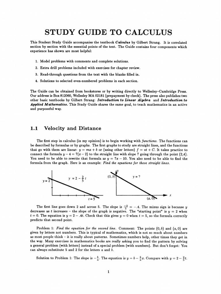 Calculus Study Guide (wellesleycambridge Press)  Trigonometric Functions   Sine