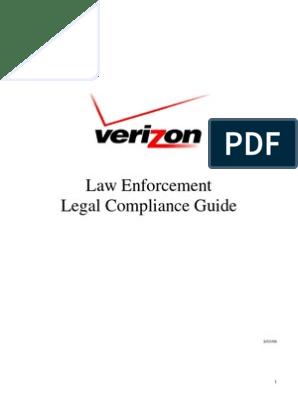 Verizon Subpoena Manual | Verizon Communications | Telephone