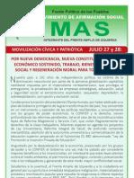 MAS Movilización  Nacional  Cívica y Patriótica  Julio 27 y 28 de Julio.