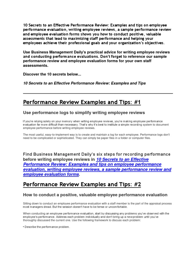 10 Secrets To An Effective Performance Review | Performance Appraisal | Goal