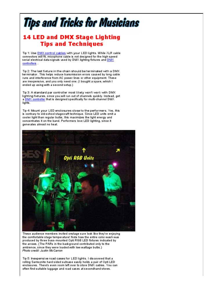 Led And Dmx Stage Lighting Tips Techniques Light Emitting The Tricolor Leds Can Be Mounted In Three Ways Through Diode