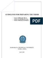 18 June 2012, Guidelines for Preparing the Thesis