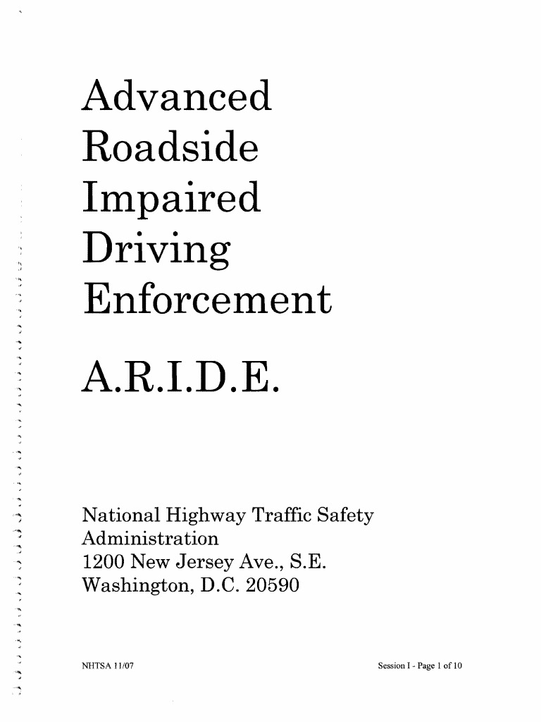 2007 Nhtsa Aride Manual | Driving Under The Influence | Drunk Driving In  The United States