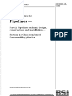 BS 8010-2.5 (1989) Pipelines on Land - Glass Reinforced Thermosetting Plastics