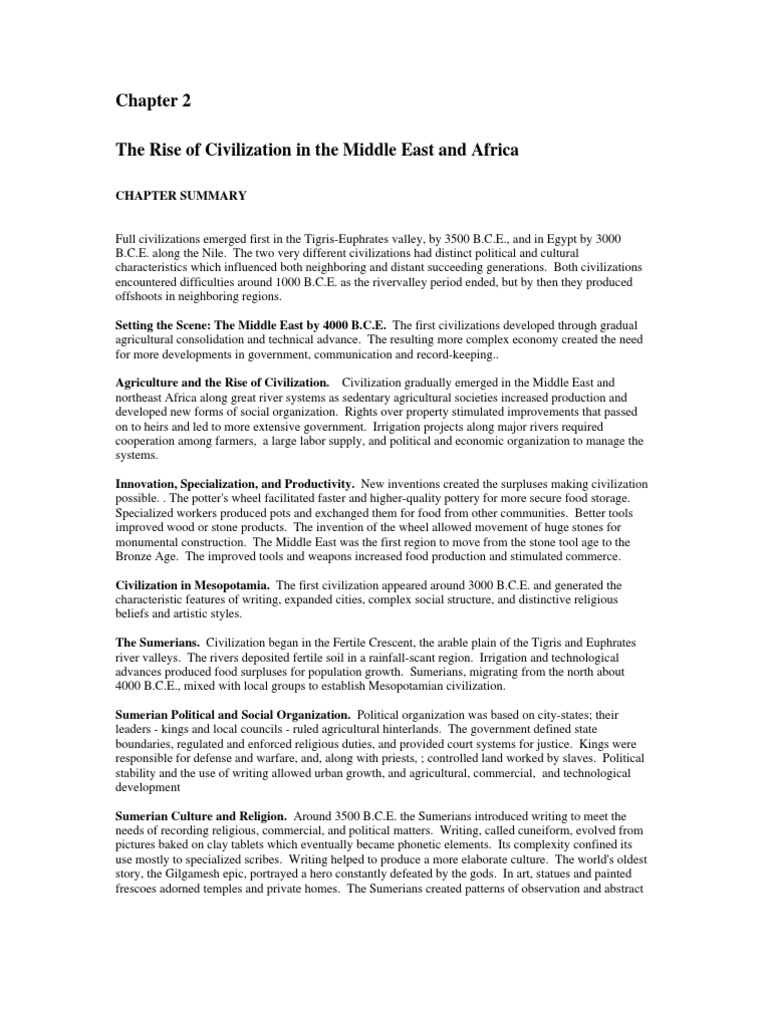 The Rise of Civilization in the Middle East and Africa