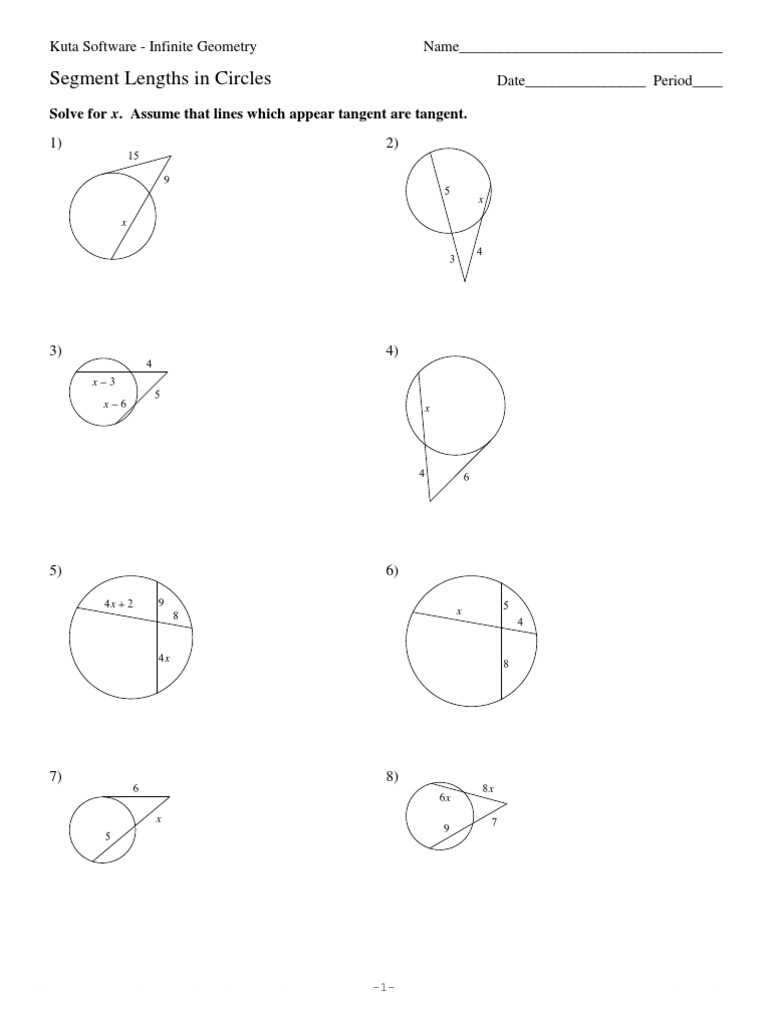 11Segment Lengths in Circles – Kuta Worksheets