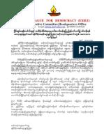 ALD Statement Regarding Daw Aung San Su Kyi