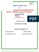 """Study on Impact of E-Marketing to Work   Reliance Money Product"""