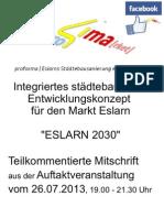 pro4ma[rket]™ - ISEK-Auftaktveranstaltung Markt Eslarn (26.07.2013) [Mitschrift]