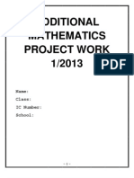 Additional Mathematics Project Work Sarawak 2013