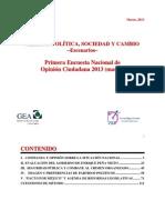 Primera Encuesta Nacional GEA-IsA 2013 (Marzo)