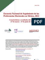 Seguimiento diario de las preferencias para la Presidencia de la República para Milenio (marzo-junio de 2012)