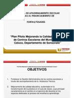 Plan Piloto Mejorando La Calidad Educativa de Centros Escolares Del Municipio de Caluco Departamento de Sonsonate