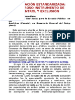 EVALUACIÓN ESTANDARIZADA PODEROSO INSTRUMENTO DE CONTROL Y EXCLUSIÓN. JOSÉ RAMOS BOSMEDIANO