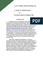 Challenges of Home Care Nursing in Nigeria ; A case of hemiplegia