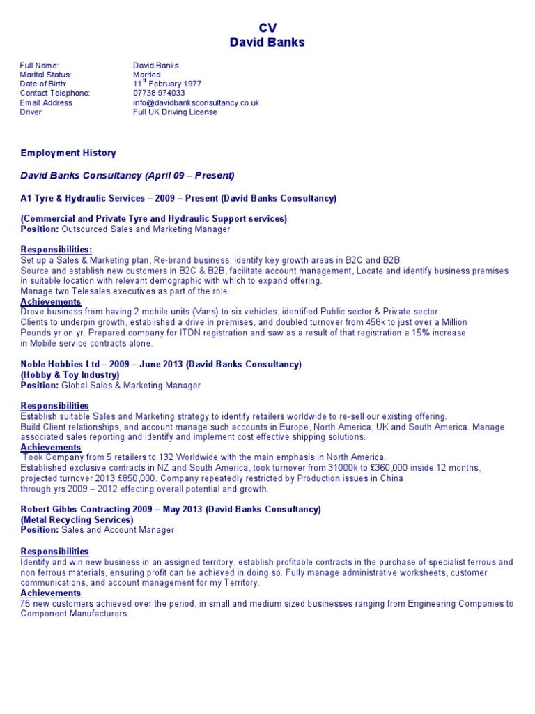 David Banks CV | Sales (10 views)