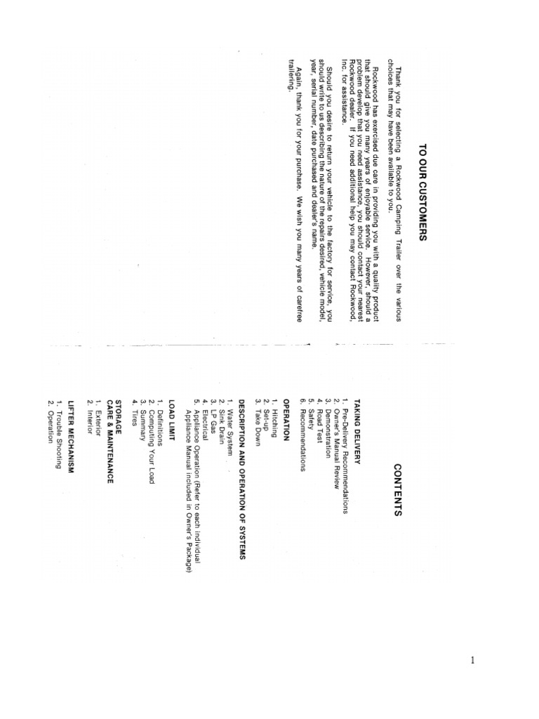 Rockwood Camper Owners Manual