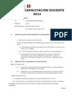 PLAN DE CAPACITACIÓN DOCENTE 2013