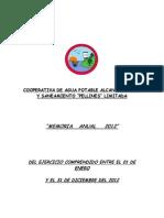 Memoria Cooperativa Agua Potable Rural Pellines Ltda 2012