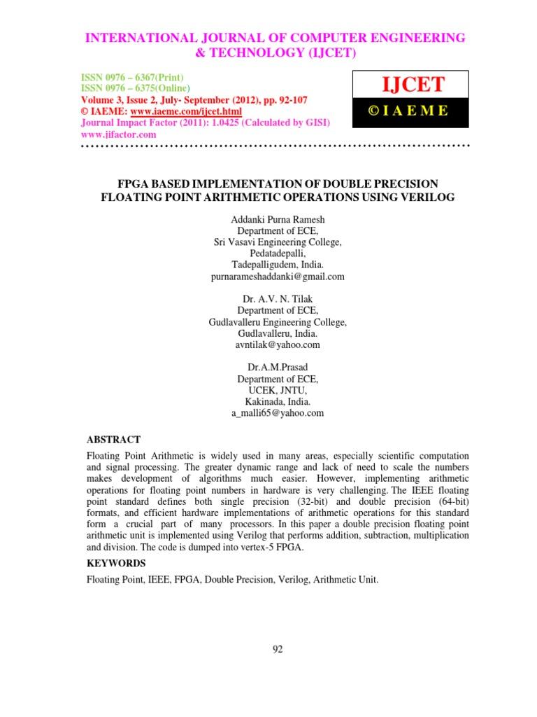 Fpga Based Implementation | Arithmetic | Computer Architecture