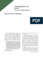DIMENSÃO INTERSUBJETIVA DA AUTO-REALIZAÇÃO _ Em defesa da teoria do reconhecimento