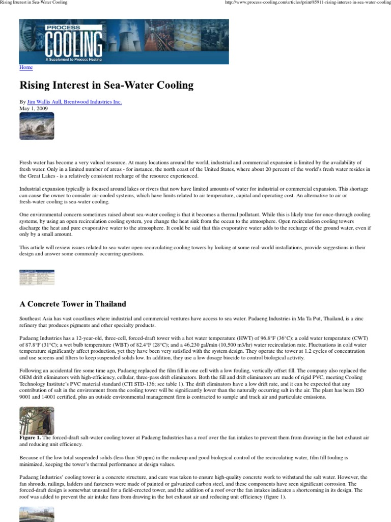 Rising Interest in Sea-Water Cooling | Seawater | Water