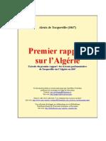 Report about Algeria (1847),Rapport sur l'Algérie (1847),