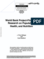 Gittinger, J. Price & Carol Bradford 1992 'World Bank Project--Financed Research on Population, Health, And Nutrition' Policy Research Working Paper, WPS 1046 (Nov., 16 Pp.)