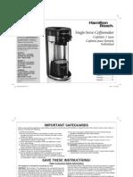Hamiltion Beach Single-Serve Coffeemaker 49995 K Cup