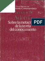 Adorno Theodor - Sobre La Metacritica de La Teoria Del Conocimiento