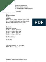 Course Plans of Department of Economics, University of Dhaka