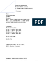 Course Plans of Department of Economics, University of Dhaka