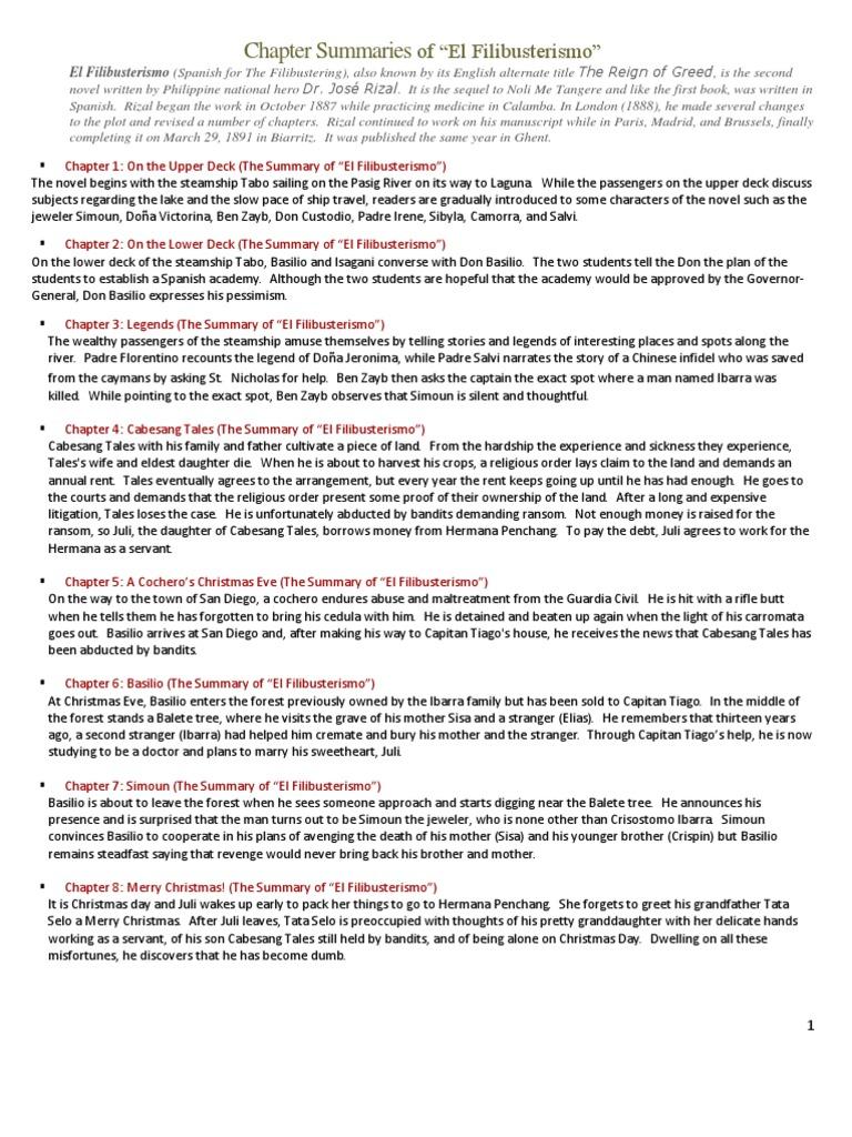 Chapter Summaries of El Filibusterismo | Spanish Language