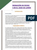 DETERMINACIÓN DE ÁCIDO CÍTRICO EN EL JUGO DE LIMÓN