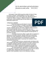 Raport de Autoevaluare Privind Activitatea Desfasurata in Anul Scolar 2012