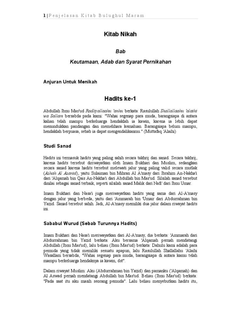 Penjelasan Bulughul Maram Kitab Nikah Pdf
