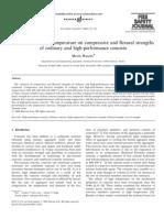 Os efeitos da temperatura elevada de resistência à compressão e à flexão de betão comum e de alto desempenho