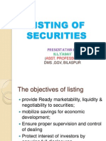 Listing of Securitiez