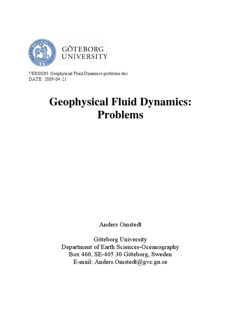 Geophysical Fluid Dynamics-Problems 2009 | Greenhouse Effect | Atmosphere  Of Earth