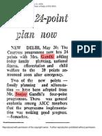 Indira Gandhi's 24 Points during Emergency