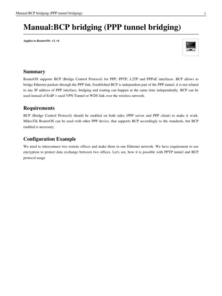 BCP PPP Bridge Mikrotik | Router (Computing) | Internet Standards