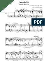 Rachmaninoff Sergei Canon en Mi Mineur